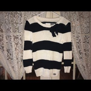 Navy & white striped Gilly Hicks Sweater w bow (S)